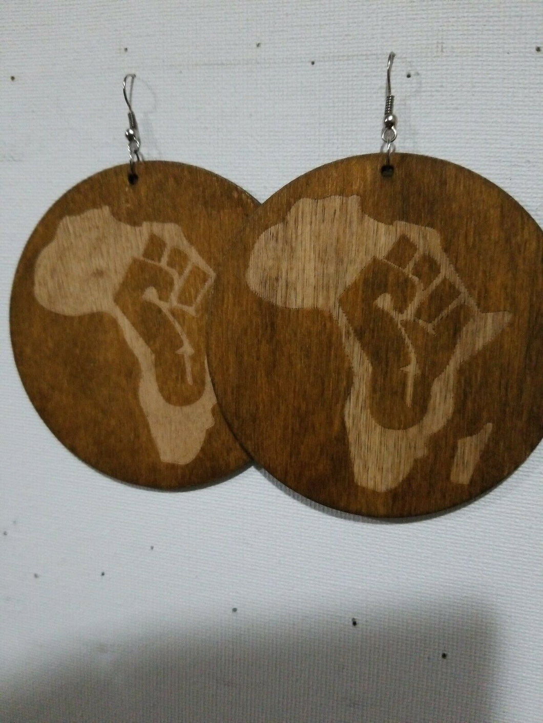 Wooden Large Africa Map and Clinched fist.Light weight errings