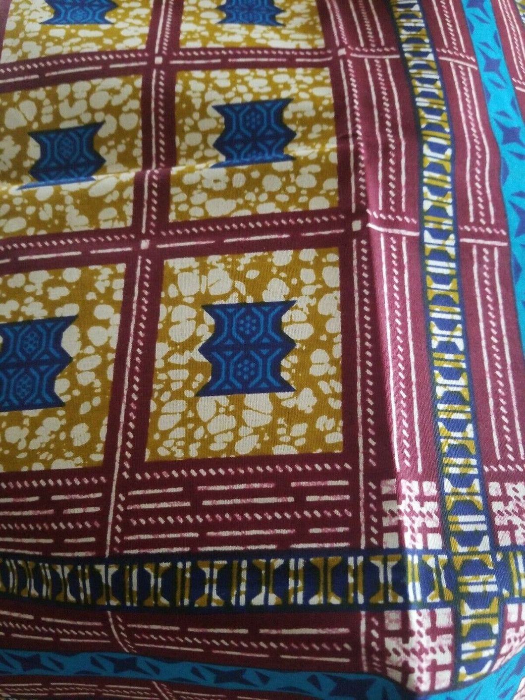 Blue MULTICOLOR African Wax Print 100% Cotton Fabric ~4yards,44