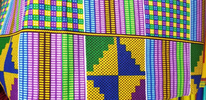 Kente Print African Wax Print 100% Cotton Fabric ~3 yds $18