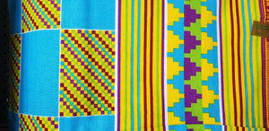 Kente Print African Wax Print 100% Cotton Fabric ~1 yd~$6.50