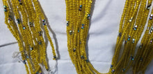 Load image into Gallery viewer, Dazzling Yellow African Waist Beads with tiny crystal Accents ~ very Long 45-53""