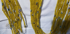 Dazzling Yellow African Waist Beads with tiny crystal Accents ~ very Long 45-53""