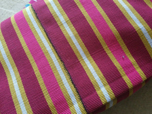 "FasoDaFani Fabric From Boukina burgundy,mustard  multi colored stripes53""×75"""