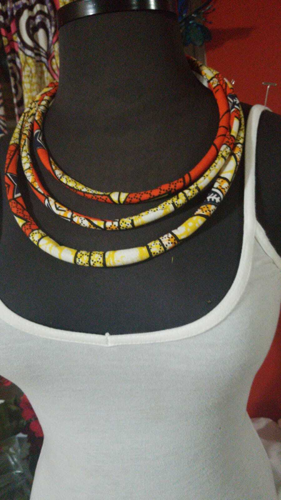 3 strand Orange Multi African Print rope Necklace $15
