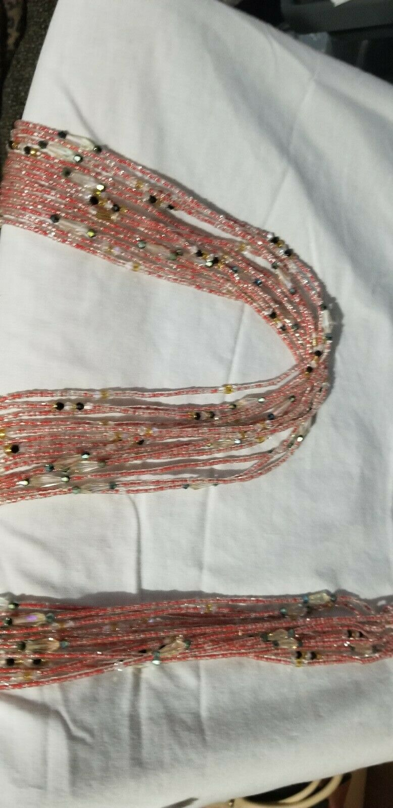 Red Colored African waist Beads Long With Decorative Accents#2(.46
