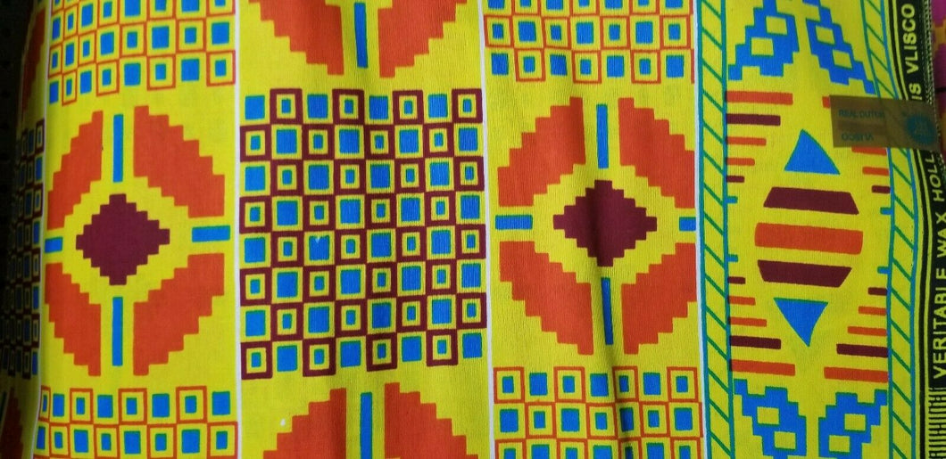 Kente Print Fancy100% Cotton Fabric ~2 YARDS × 23