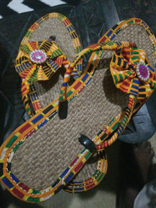Handmade Kente Slippers with Denim Accents~Size 11M(fits US Size9.5- 10M)~$25ea