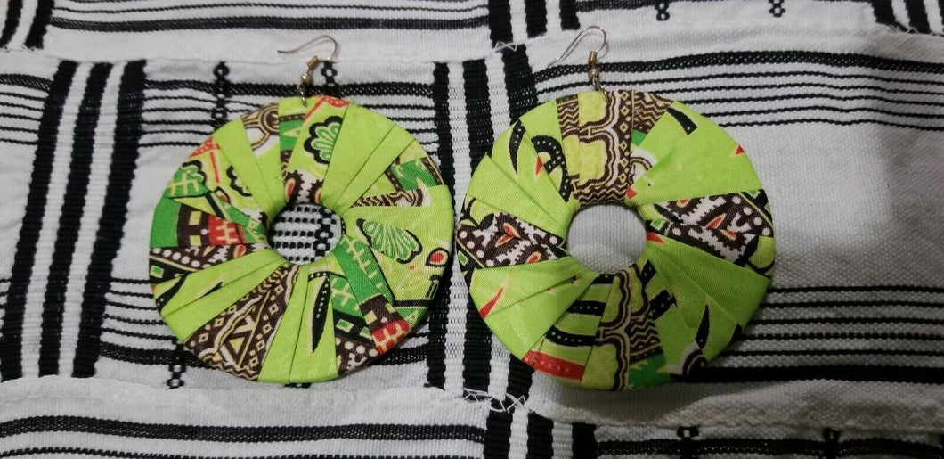 Lime Green MultiAfrican Print  Round Earrings $5