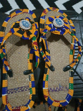 Load image into Gallery viewer, Handmade Kente Slippers with Denim Accents~Size 10.5M(Fits US9-9.5)~$25ea