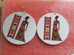 Painted lady wooden Drop Round Dangle Earrings#1 ~$6