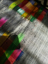 "Load image into Gallery viewer, Kente Colors in Silk Lux Scarf/Head Wrap(Grey) 72""×21.5"""