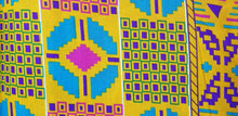 Load image into Gallery viewer, Kente Print African Wax Print 100% Cotton Fabric ~2 YARDS × 23""