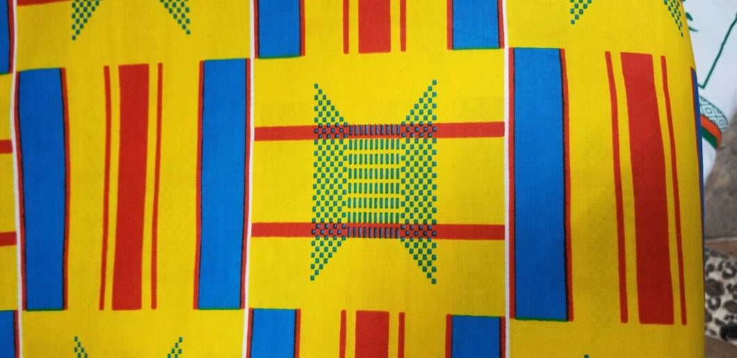 Kente Print African Wax Print 100% Cotton Fabric ~2 YARDS × 23