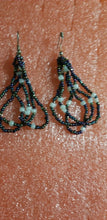 Load image into Gallery viewer, African Beaded Earrings(pewter and white) Handmade  $6