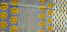Load image into Gallery viewer, Assorted motif vibrant Yellow African Print fabric $7 per yard