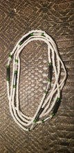 "Load image into Gallery viewer, African Waist Beads(Green Crystal and Green accentBeads on White )(.46""-53"")"