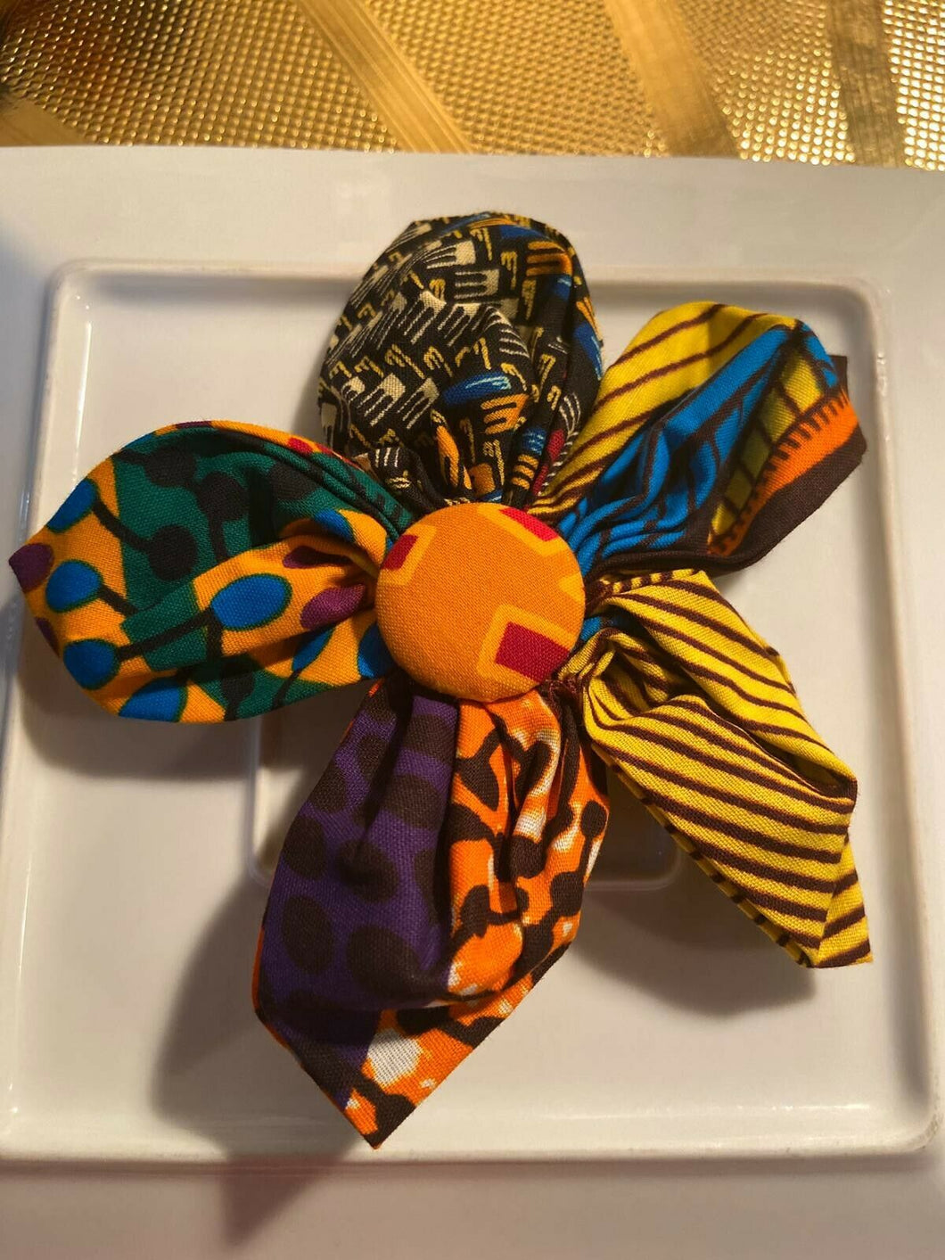 African print hair accessory/brooch pin