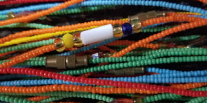 NEW  BEAUTIFUL MULTI-COLORED SUPER TINY WAIST BEADS $5 PER  STRAND(47inches)