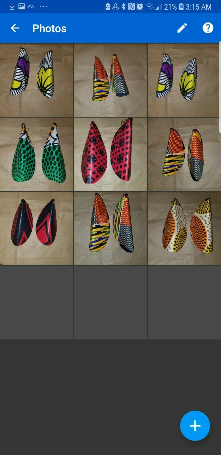 African Print Butterfly Earrings