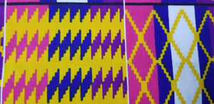 Kente Print African Wax Print 100% Cotton Fabric ~2 YARDS × 23""