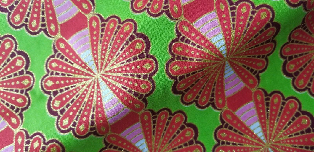 High fashion  African Orange & Lime Green 100% Cotton Fabric ~71