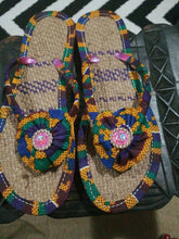 Load image into Gallery viewer, Handmade Kente Slippers with Denim Accents~Size 11M(fits US Size9.5- 10M)~$25ea
