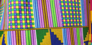 Kente Print Fancy100% Cotton Fabric ~2 YARDS × 23""
