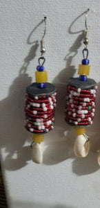 African Beaded Earrings( Red) Handmade  2pairs $10