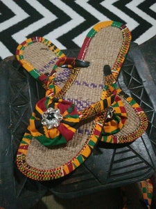 Handmade Kente Slippers with Denim Accents~Size 10.5M(Fits US9-9.5)~$25ea