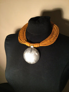 African Leather Necklace with Pendant