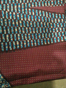 "Brown MultiAfrican Print 100% Cotton Fabric ~6yards×46""~$32"