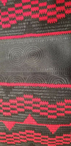 DESIGNER AFRICAN PRINT IN BLACK & RED with ADINKRA MOTIFS ~ 2yds