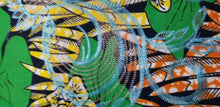 Load image into Gallery viewer, Green Multi Color African Print. Lace over Print Design ..$12.50 per yard