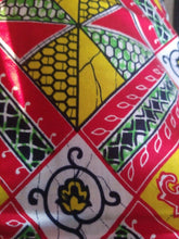 "Load image into Gallery viewer, Yellow and Red multi African Print   ~Headwrap/fabric/scarf/~70""×22""~$10"