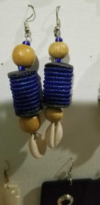 Handmade Cylindrical beaded and Cowrie earrings 2 pair Lot red and blue