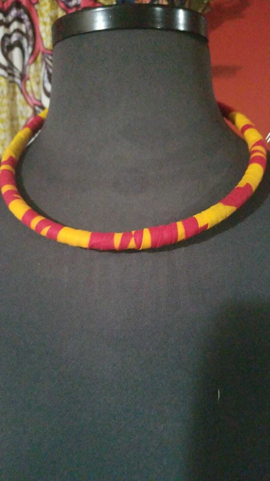Yellow & Pink Multi African Print rope Necklace $10
