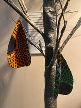 Load image into Gallery viewer, African Print Butterfly Earrings Green~ $12Ships Free