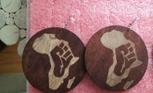 Load image into Gallery viewer, Black Power Fist Wood Women Fashion Dangle Earrings(bLK) ~$8