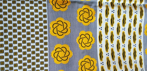 Assorted motif vibrant Yellow African Print fabric $7 per yard
