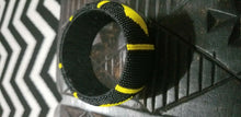 Load image into Gallery viewer, Hand Woven African Zulu  Beaded Bangle (Yellow &BLK) $12 ea