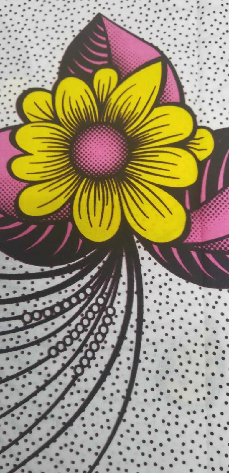 Summer bouquet in yellow and Pink African Print 100% Cotton 2 yds $10