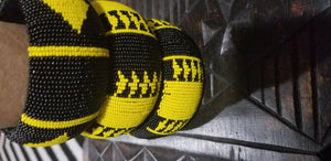 Hand Woven African Zulu  Beaded Bangle (Yellow &BLK) $12 ea