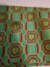 "Load image into Gallery viewer, High fashion Green MULTI African  Print 100% Cotton  ~70in(1yd&34"")×23""  $11.50"