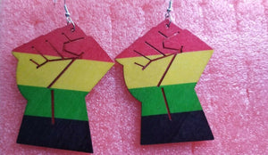 Africa Rasta Jamaican Reggae Hand Fist Wood Women Fashion Dangle Earrings
