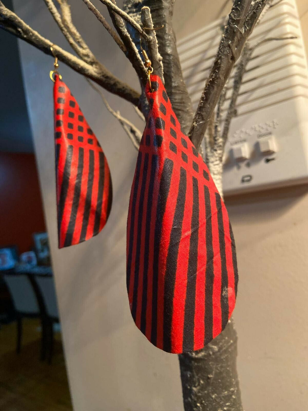 African Print Butterfly Earrings Red stripes1~ $12 Ships Free