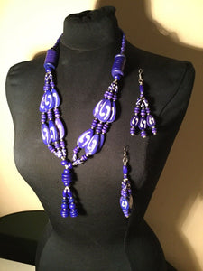 MULTI STRAND RESIN NECKLACE-Select Red Or Blue
