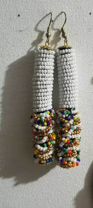 White Multi Beaded Dangling Earrings $7