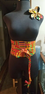 African PRINT WIDE BELT wrap&Tie( Kente)