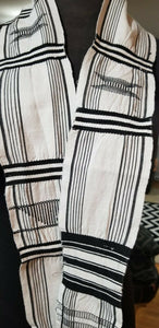Handmade black and white woven Ewe Kente Sash