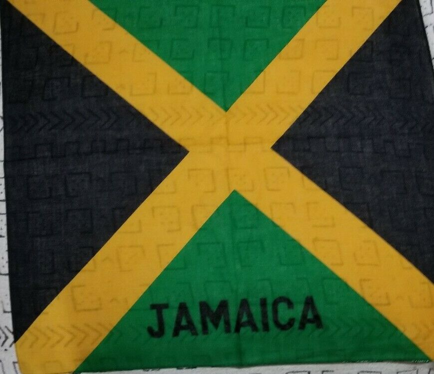 100% Authentic Jamaican Flag Bandana Multifunctional Scarf Blue And Red.~Lot of3